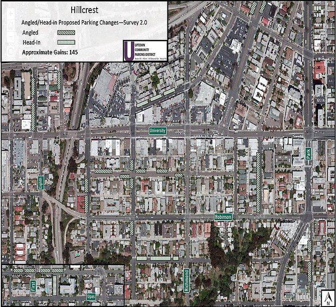 Map indicating areas where 145 more parking spots can be squeezed out of Hillcrest (click for full picture)