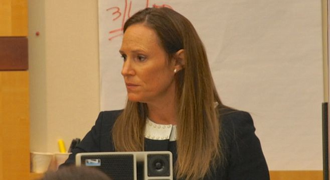 Prosecutor Tracy Prior in court on October 7, 2015