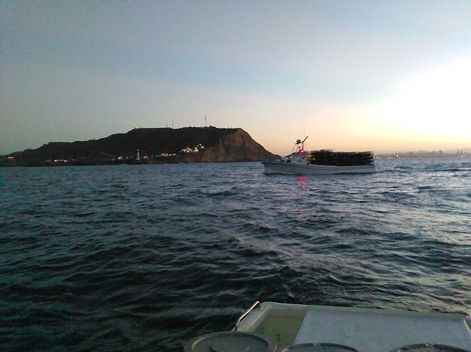 Laden with lobster traps off  Point Loma, ~6 a.m. on October 6, 2015