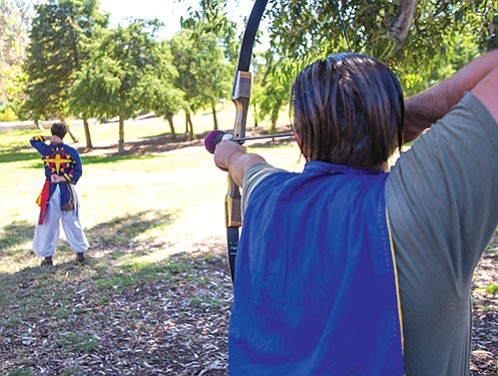 Belegarth medieval combat society fights on Morley Field