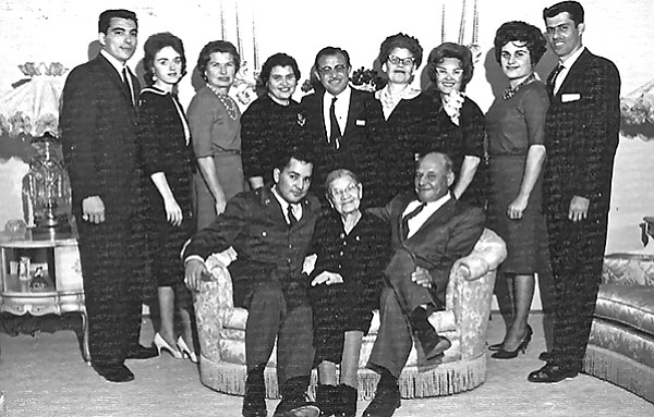 Mrs. Goldfarb, Frank Bompensiero, wife Thelma, Mickey Goldfarb, daughter Maryann Bompensiero,  Leo Patella, Amanda and brother Sammy Bompensiero, Sam & Frank's sister Grace and husband Joe Corrao