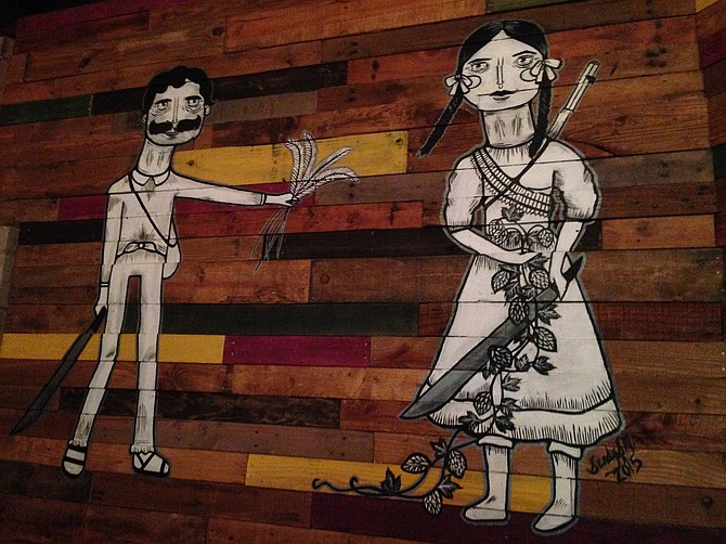 Local artist Cindy Santamaria contributed to the decor at National City's Machete Beer House.