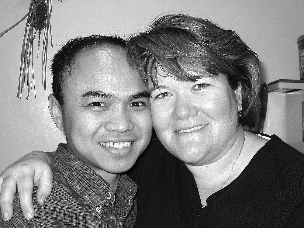 """Patty and Jomar. """"She gave me a going-away party, and I realized that I was leaving a very special person behind."""""""