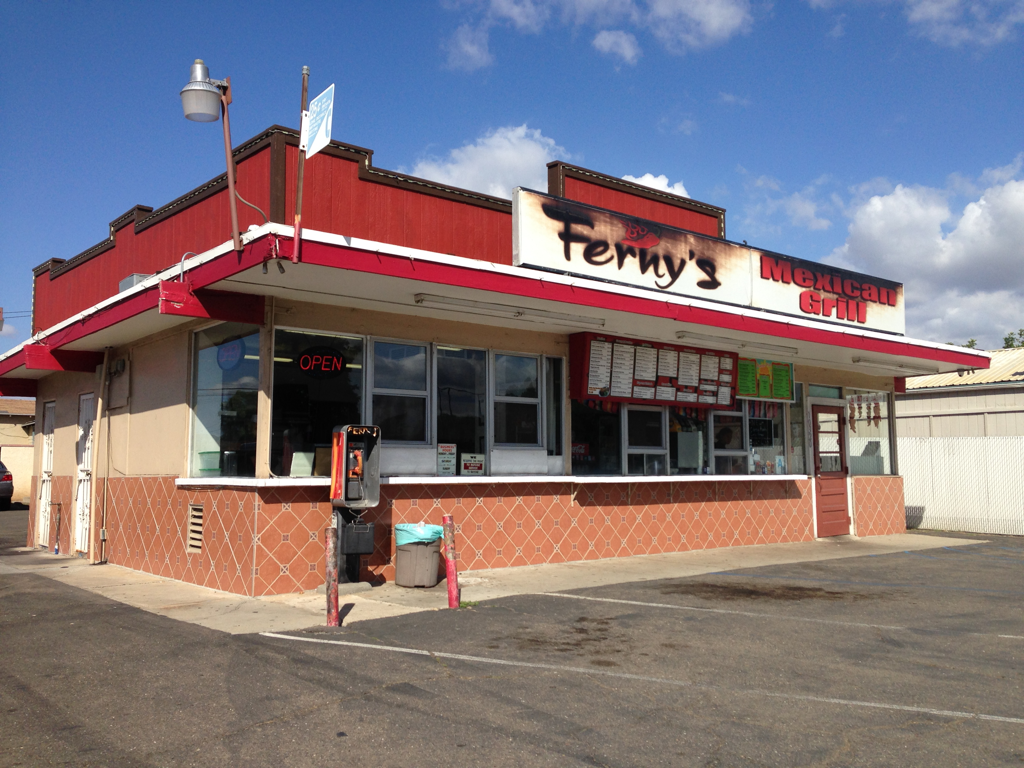 Ferny's Mexican Grill. We're not sure if the scorch marks are an affectation or if there was an actual fire.