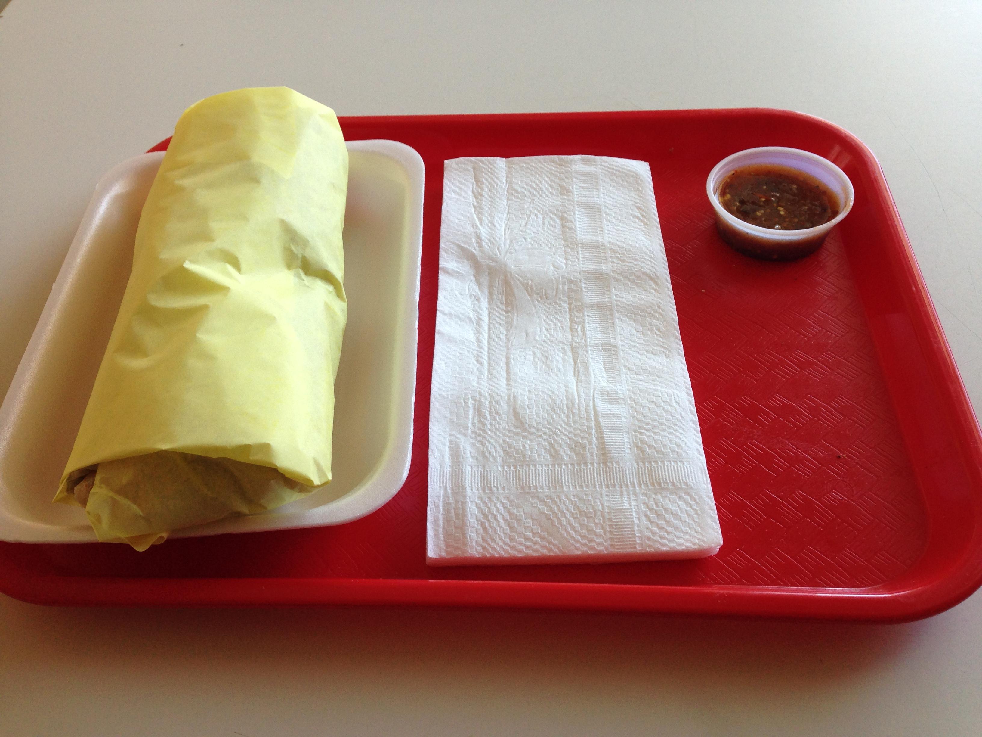 The vaunted salsa fea. Also, a burrito.