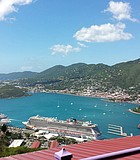 This is a view of St. Thomas Island and cruise ships from up on the ...