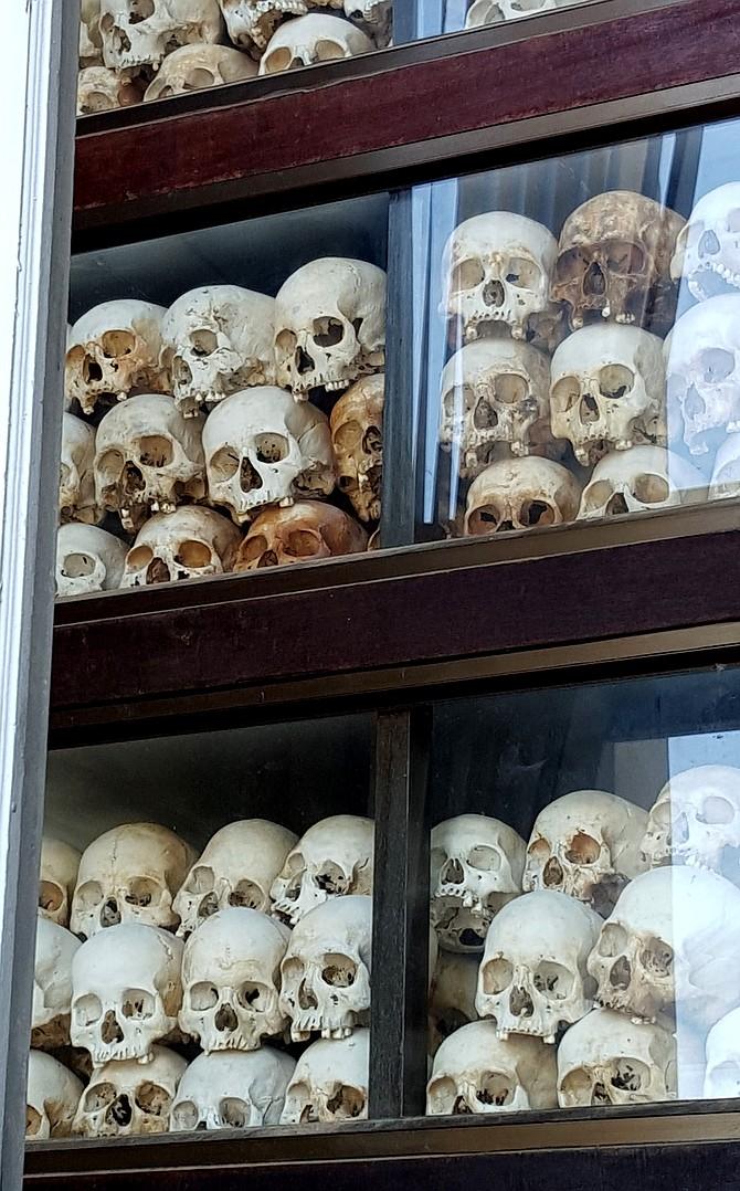 Memorial building with skulls