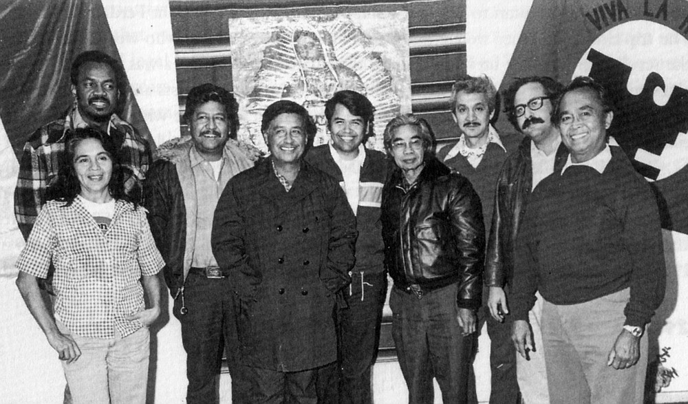 The United Farm Workers executive board, 1977; Eliseo Medina fourth from left, César Chávez far right