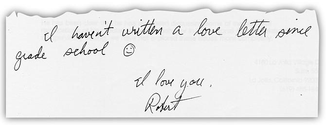 "Letter from Weitzel to Patient X. ""I haven't written a love letter since grade school."""