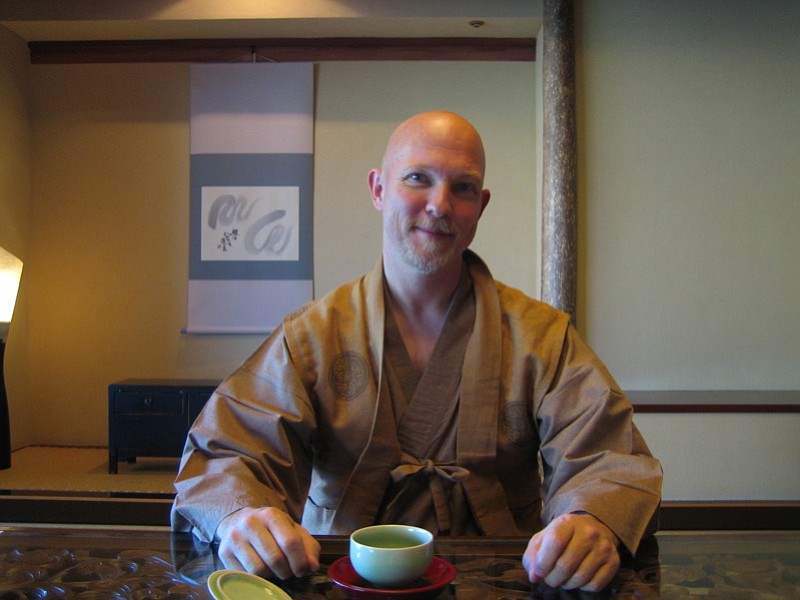 David, ready to eat breakfast in our room at Hakone Ginyu in Japan