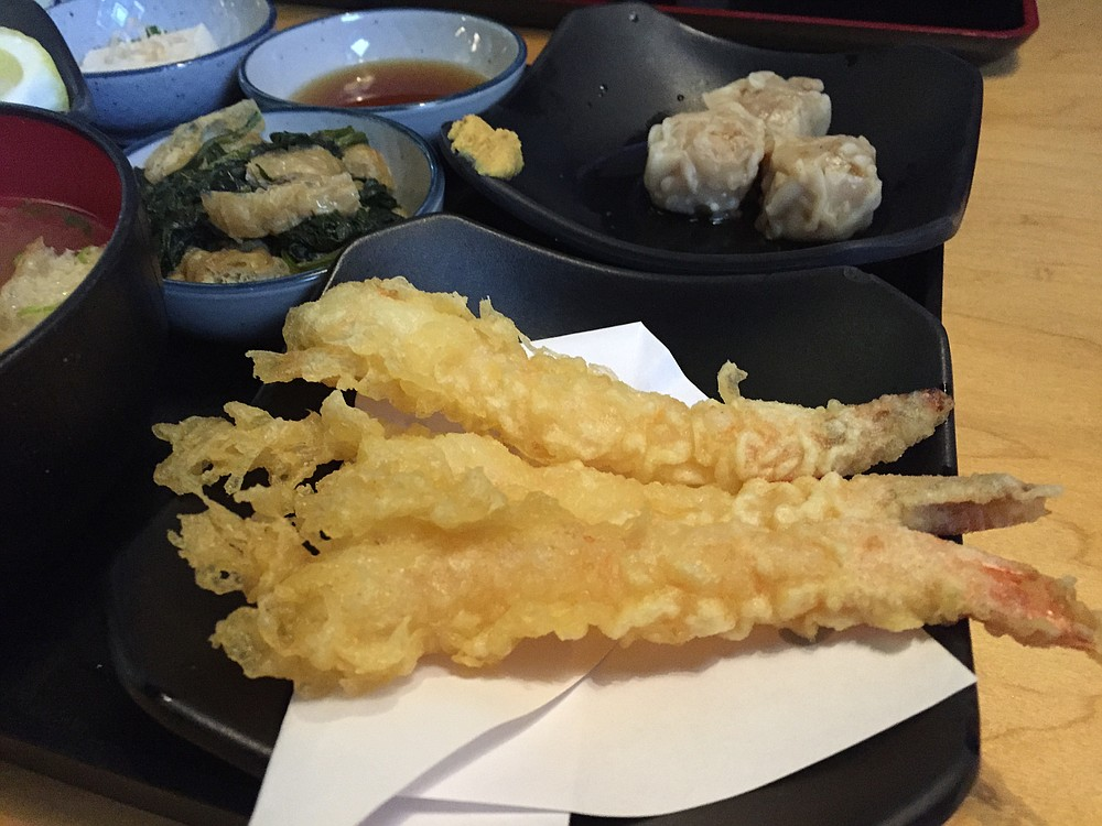 Shrimp tempura, with shumai in the background