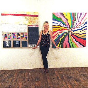Tasha Zogo at her San Diego art gallery, Dolphin and Hawk
