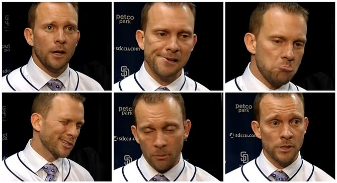 Green practices going through the six stages of Padres rein-taking: shock, worry, sadness, embarrassment, depression, and resignation.