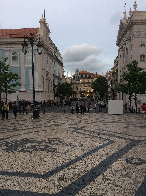 Strolling through Lisbon's central Baixa neighborhood.