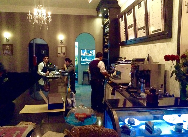 The baristas and waiters are one and the same. That might explain the coffee.