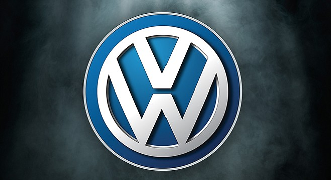 VW, polluting the air and the company name.