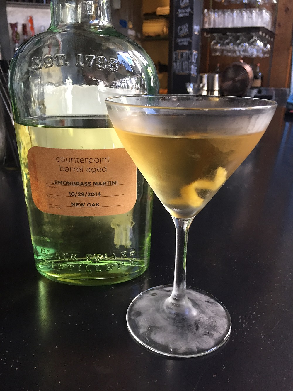 Barrel-aged lemongrass martini at Counterpoint