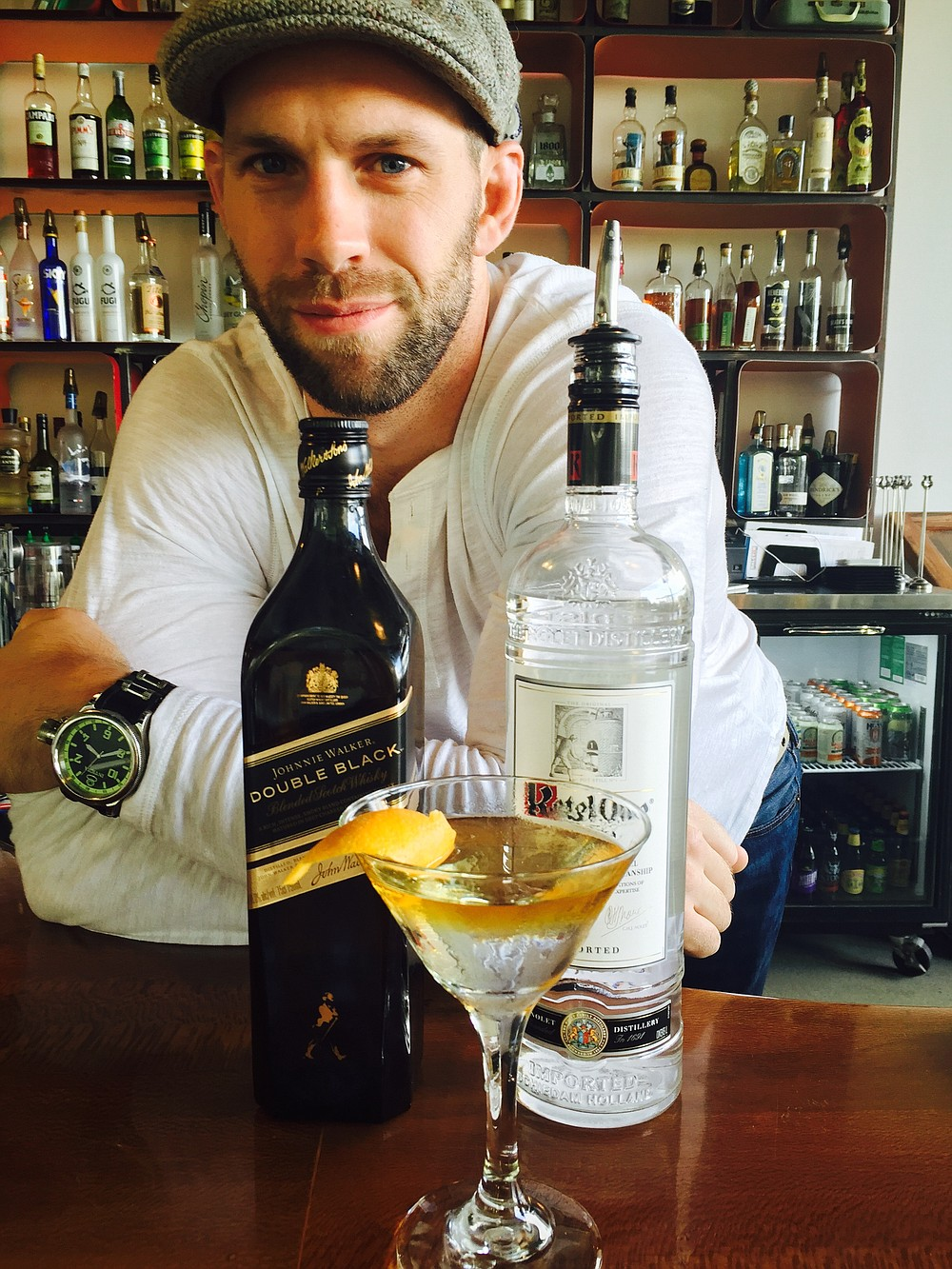 Greg Schmitt of Halcyon and his favorite martini: the Smoking Mariner
