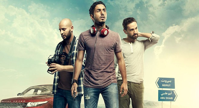 Shadi Alfons, Fadi Rifaai, and Fahad Albutairi in the road dramedy From A to B