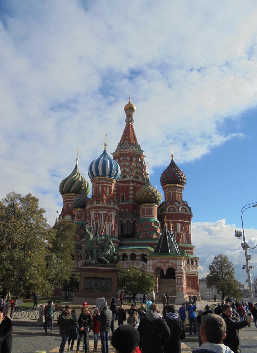 Admiring the fairytale-like St. Basil's Cathedral.