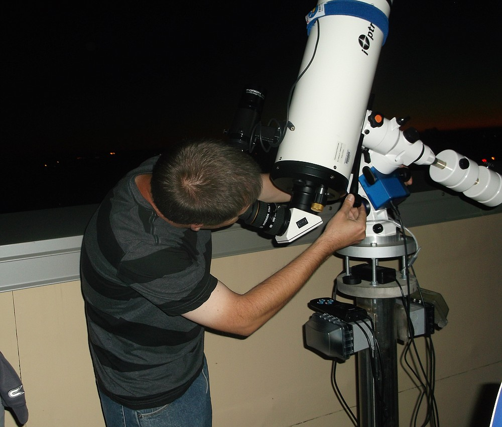 Permanent mounts for telescopes are all over the rooftop observatory.