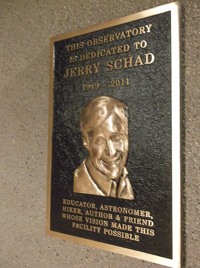 Dedication plaque for Jerry Schad at Mesa College