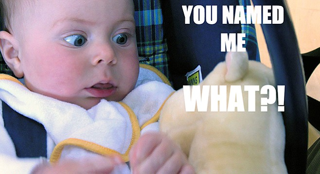 """Surprised baby says, """"You named me what?"""""""