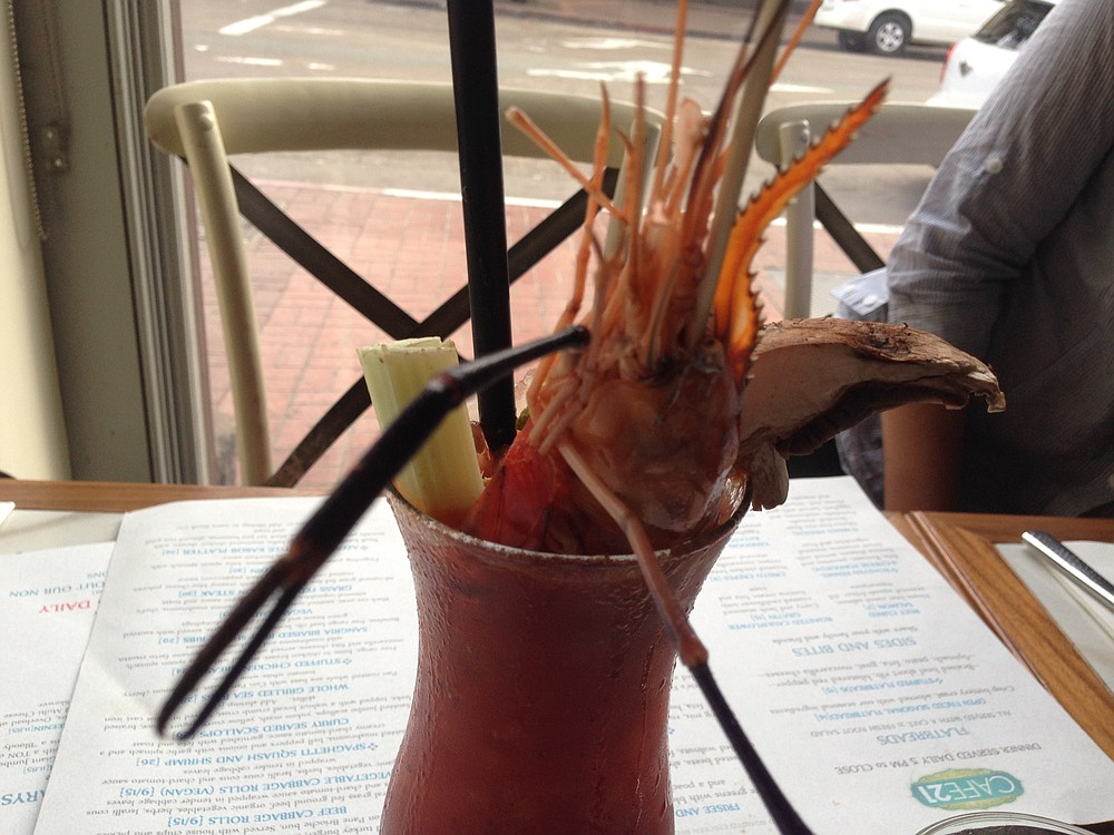 Prawn Star Bloody Mary comes with a huge shrimp