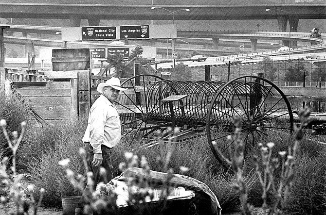 """Mission Valley, c. 1977. """"The San Diego River has been drained, filled in, pushed aside, and excavated."""" - Image by Bill Robinson"""