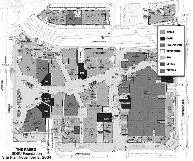 """Paseo site plan. In early April 2005, Carter came up with a proposal to sell the project to a real estate investment group from the East. Roush had a quick response. """"Bond counsel refers to this group as 'shady.'"""""""