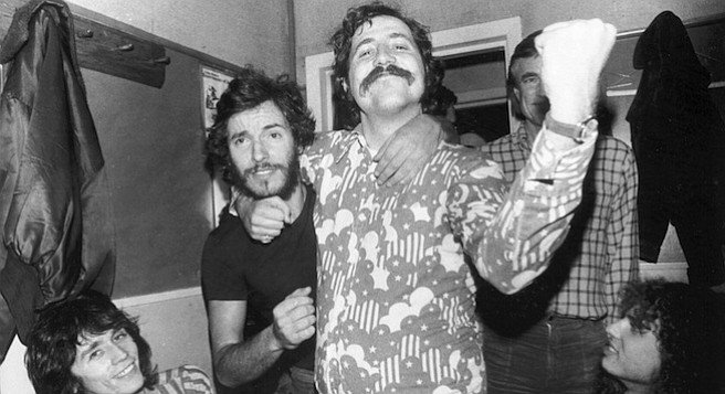 Bruce Springsteen and Lester Bangs, 1975. Lester returned to town to spend the Christmas of 1973 with Andrea, who had an apartment in El Cajon. It was a festive time, and Lester wore an expensive new sport coat and much cologne from the many Christmas gifts he got from the Creem staff. He had put on so much weight that he looked obese.