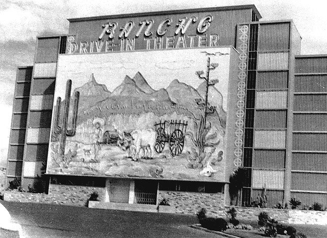 Rancho Drive-In, at the corner of Euclid and Federal, featured a mural on the back of the Rancho's green screen tower which depicted a Mexican village, cacti, and a campesino with his ox cart. The ox's head moved up and down.