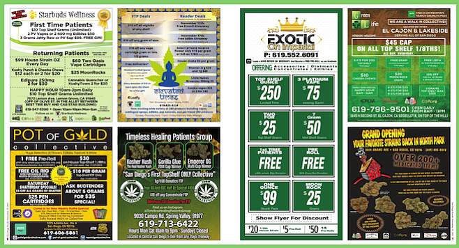 A sample spread of marijuana ads at the back of the Reader