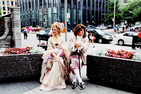 Baroque reenactors in downtown Montreal