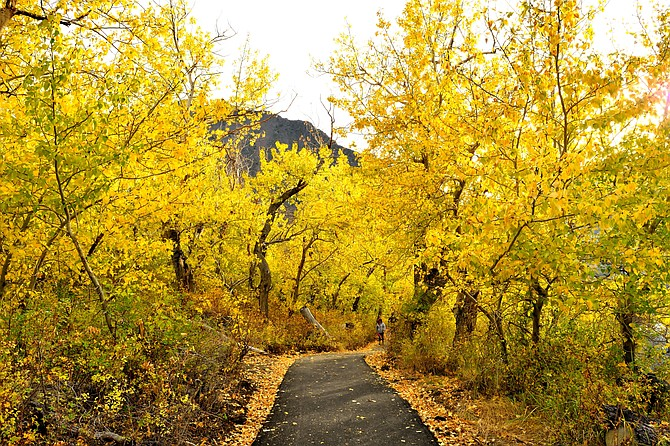 Trail around Convict Lake, eastern Sierras in the fall.