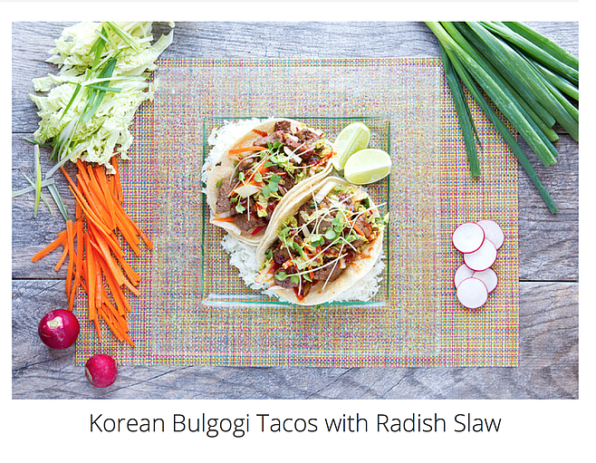 The Korean beef tacos on the Gobble website