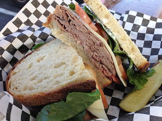 Roast beef inside a sandwich