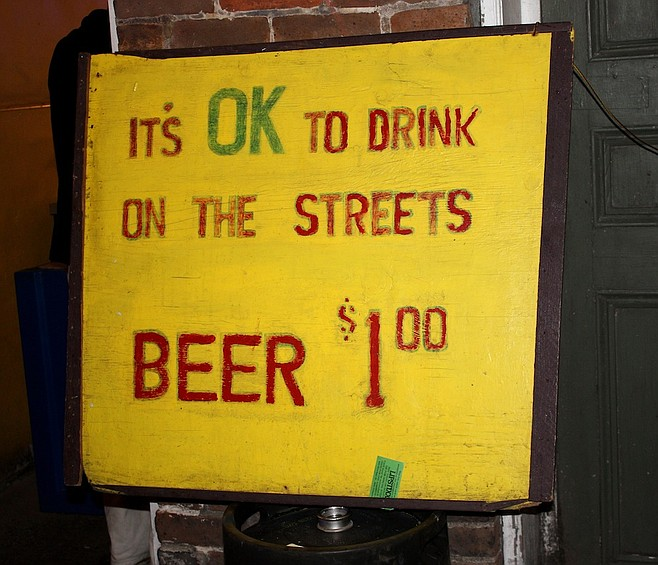 A sign found on Bourbon Street.