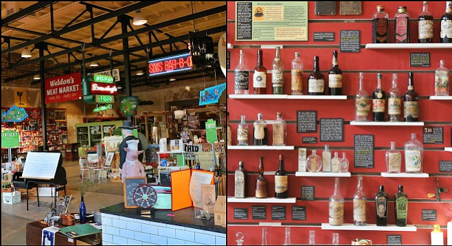 NOLA's Southern Food and Beverage Museum shares its open warehouse space with the Museum of the American Cocktail (left); selection of vintage bottles at the latter (right).