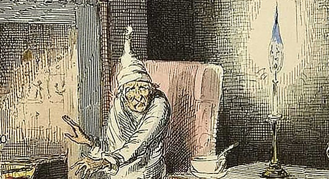 Scrooge illustrated by John Leech, from the 1843 first edition of a Christmas Carol