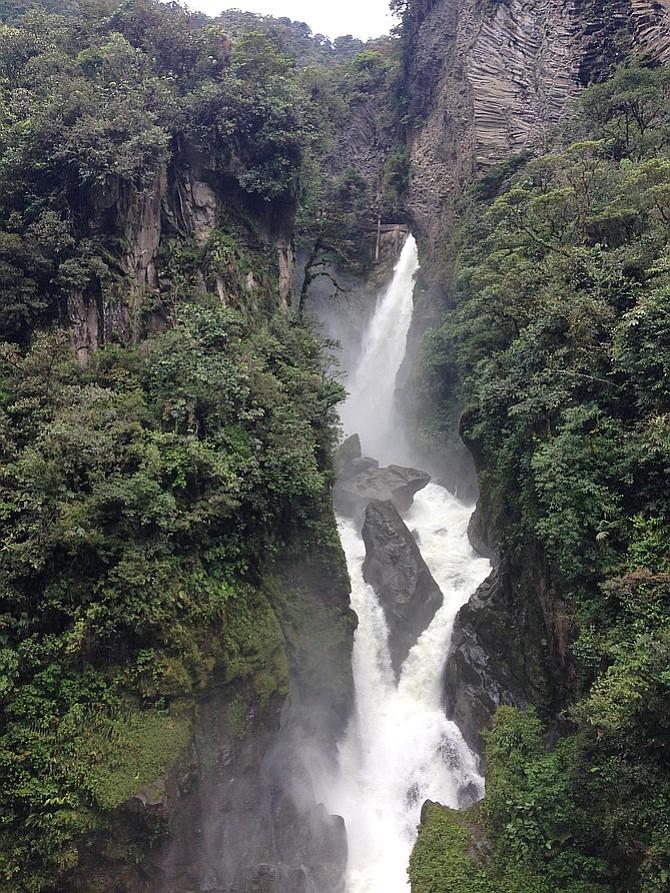 View of Pailon del Diablo falls from the bridge.