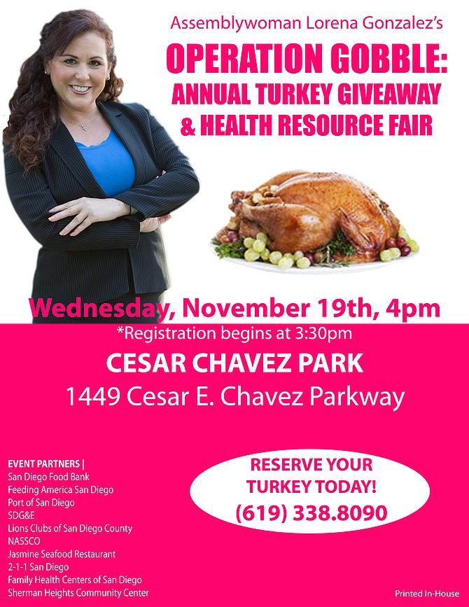 """""""Families receiving turkeys have been pre-selected,"""" noted Gonzalez's website"""