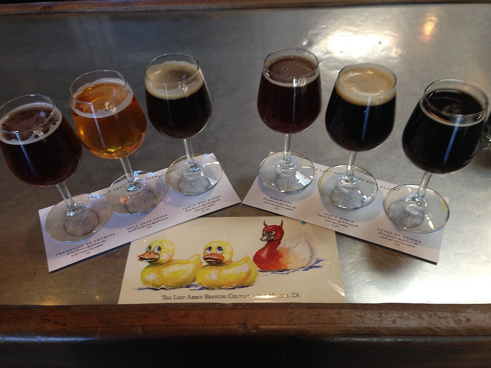 Vintage Flight at Lost Abbey's tasting room, complete with a devilish Duck Duck Gooze sticker