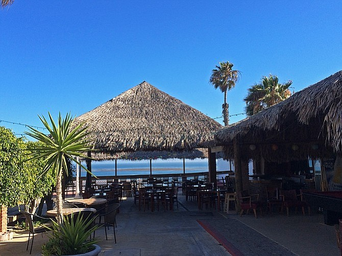 The outdoor space at Baja Calypso, looking over the Pacific.