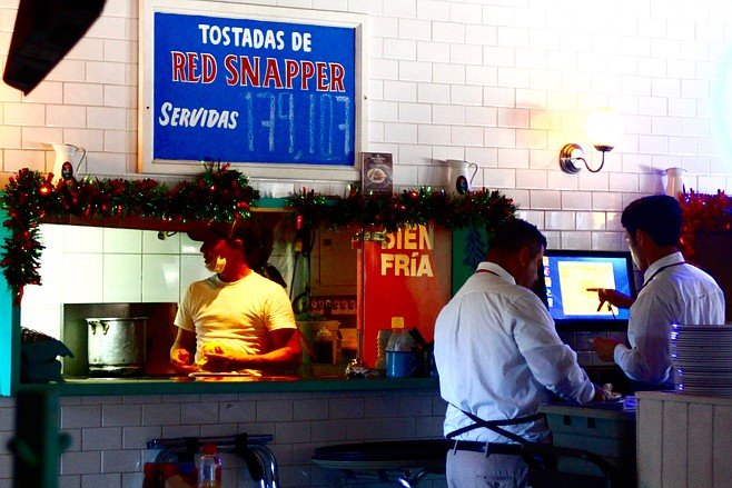 Kitchen view with the red snapper counter