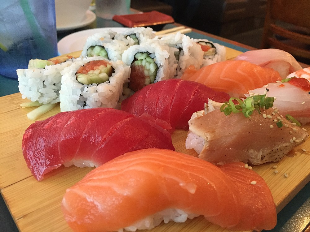 A simple Spicy Tuna Roll and Nigiri Sampler