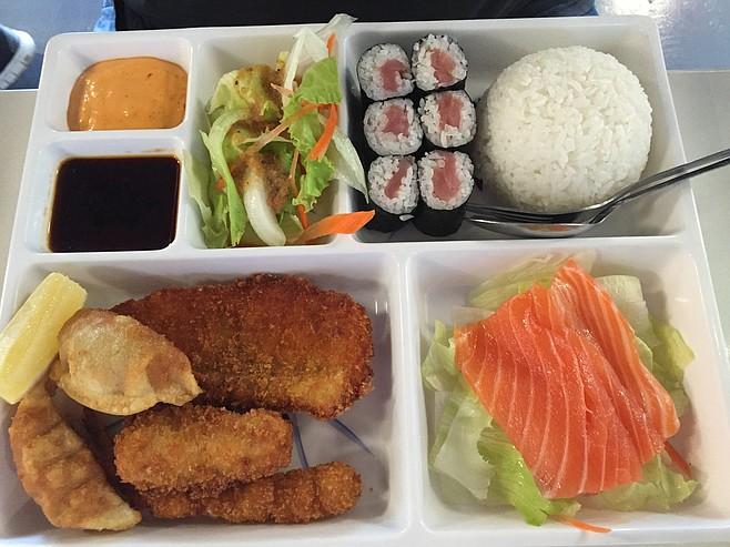 Bento lunch special #2, with salmon sashimi and more of that fried fish