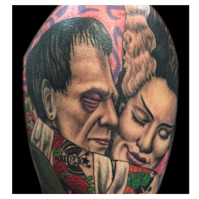 Munsters embrace tattoo by Tim Lees of 4everUtat2 www.TimLeesTattoo.com