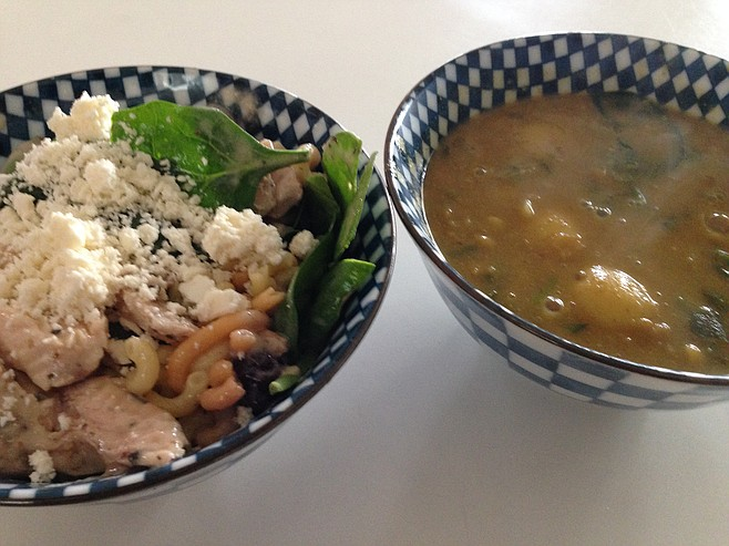 Peppercorn chicken salad with feta topping and split pea soup with spinach and potatoes