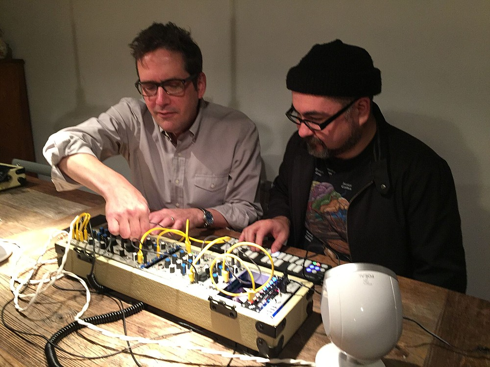 Tom Erbe and Bobby Bray tinkering with the Eurorack.